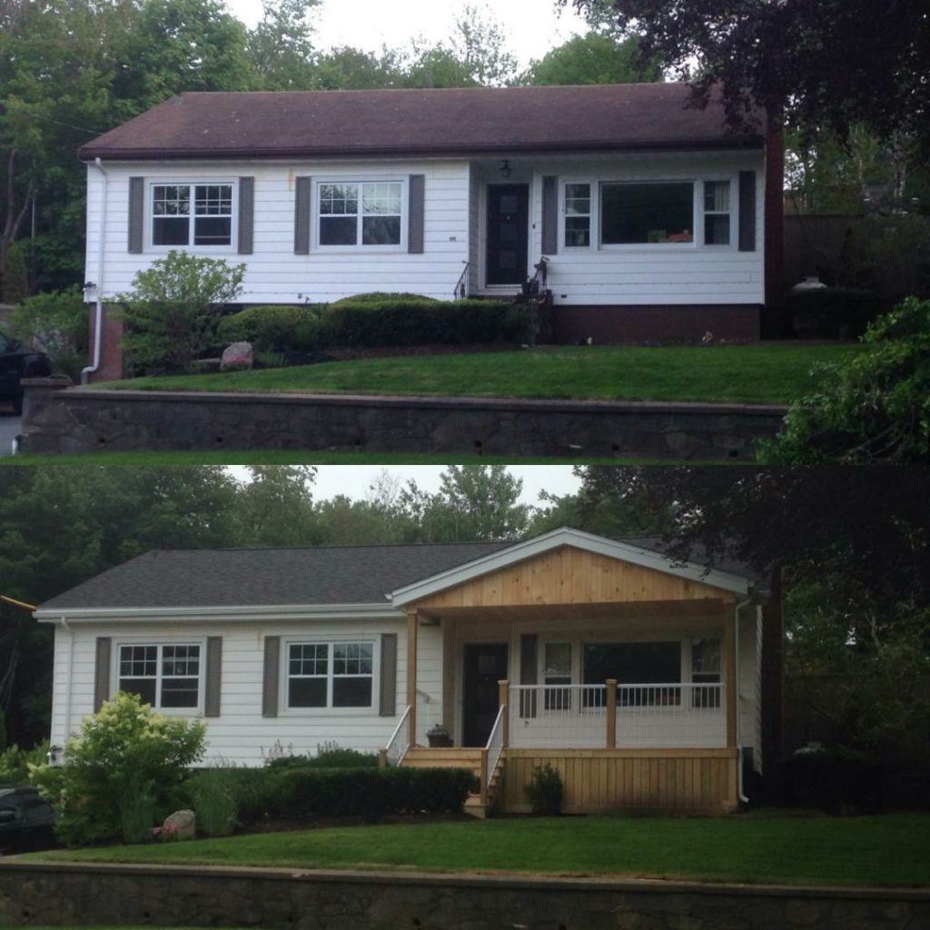 Before and After of a new front deck