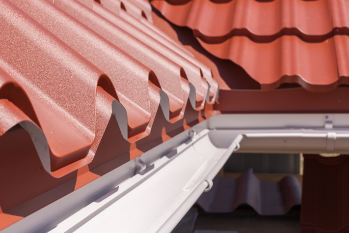 close-up of corrugated roof and gutter